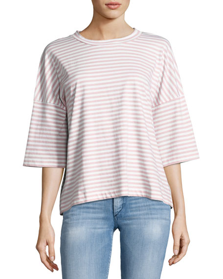 MiH Striped Oversized Tee, White/Air Pink