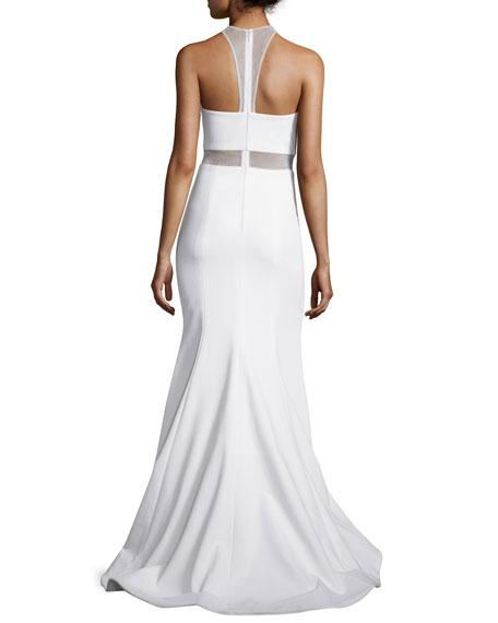 Sleeveless Illusion-Bodice Mermaid Gown, Ivory