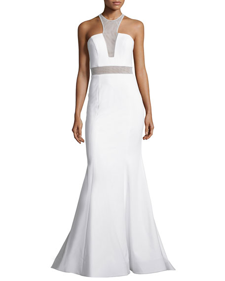 Jovani Sleeveless Illusion-Bodice Mermaid Gown, Ivory