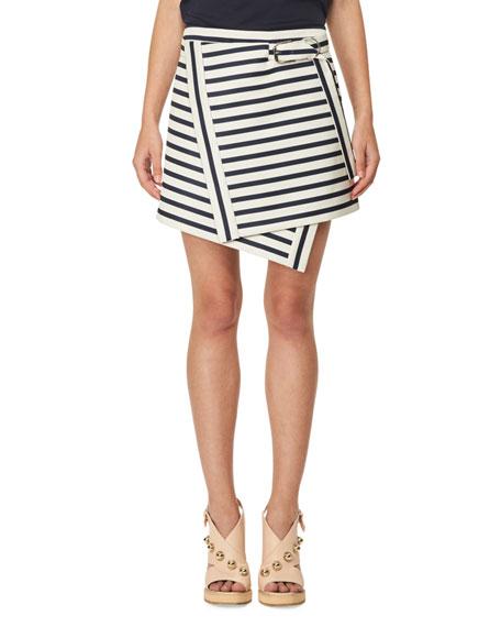 Asymmetric Striped Mini Skirt, White/Blue