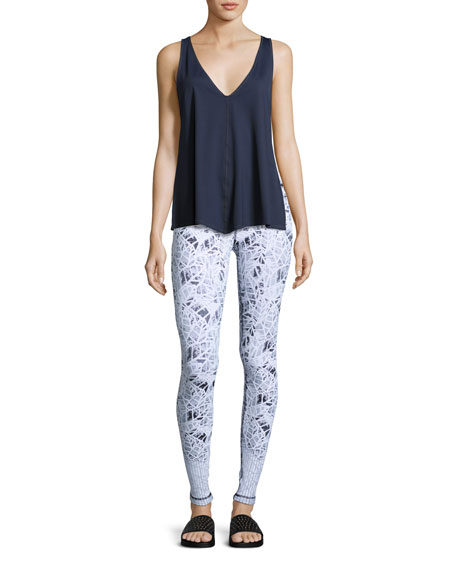 Leaf Jacquard Athletic Leggings, White