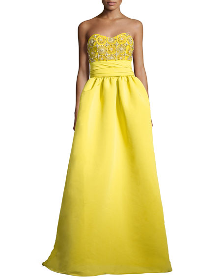 Strapless Faille Gown with Embellished Bodice, Chartreuse