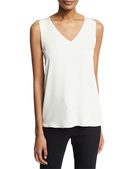 Halston Heritage Sleeveless V-Neck Blouse w/ Sheer Inserts,
