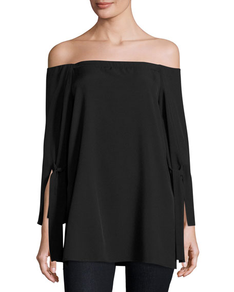 Halston Heritage Long-Sleeve Off-the-Shoulder Blouse