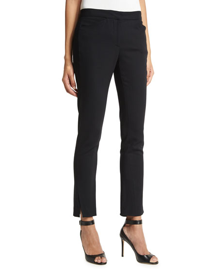 Halston Heritage Stretch-Wool Straight-Leg Ankle Pants, Black and