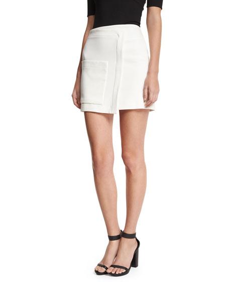 Halston Heritage Faux-Wrap Mini Skirt, White