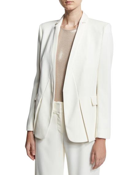 Halston Heritage Tuxedo Jacket w/ Notch Detail, White