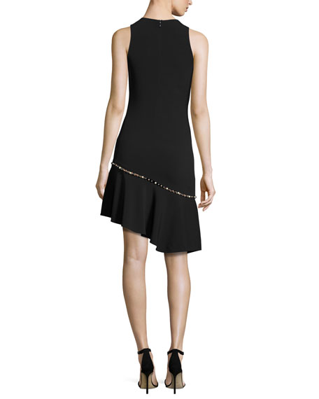 Pearly-Studded Asymmetric Sleeveless Dress, Black