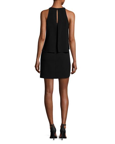 Sleeveless Round-Neck Tiered Dress, Black