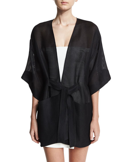Halston Heritage Sheer Kimono Wrap Jacket w/ Topstitched