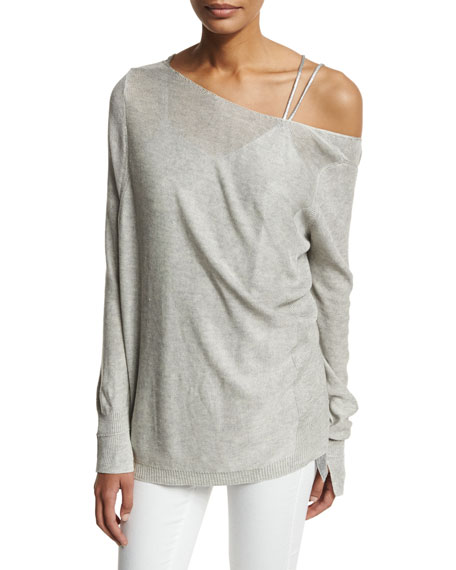Lightweight Wide Boat-Neck Asymmetric Sweater, Light Gray