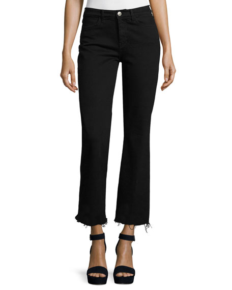MiH Lou Flare-Leg Cropped Jeans, Black