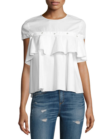 Jonathan Simkhai Pearly-Button Ruffle-Trim Top, White