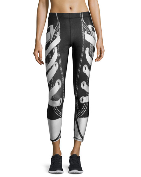 Laces Out Athletic Leggings, Black/White