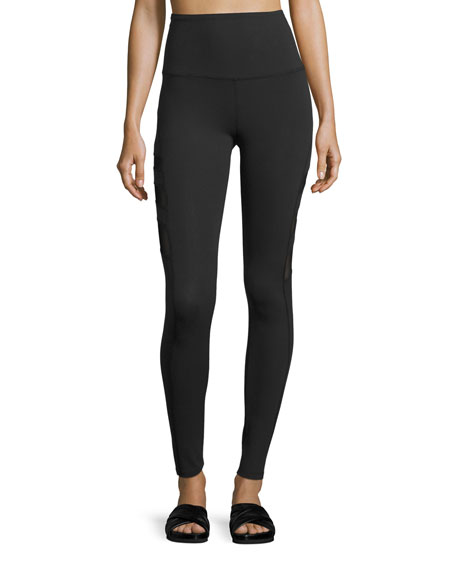 Beyond Yoga Triple-Mesh High-Waist Long Legging, Black