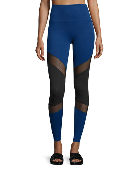 Deco Mirror Paneled High-Waist Long Leggings, Black/Cobalt