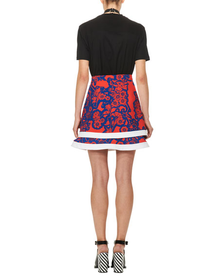 Floral Tiered Mini Skirt, Red/Blue