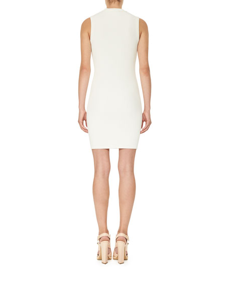 Sleeveless Ribbed Jersey Mini Dress, White