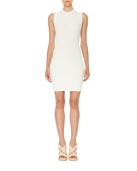 Carven Sleeveless Ribbed Jersey Mini Dress, White