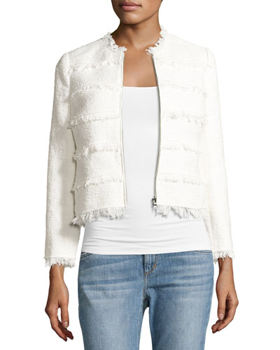 Textured Tweed Jacket with Fringe, White