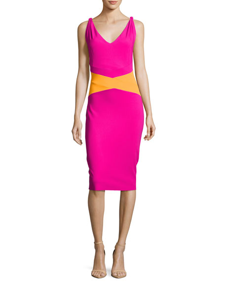 Dorcas Sleeveless Colorblock Cocktail Dress, Pink/Orange
