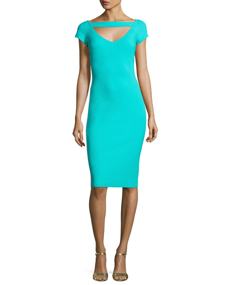 Ecuba Cap-Sleeve Jersey Sheath Dress, Aqua
