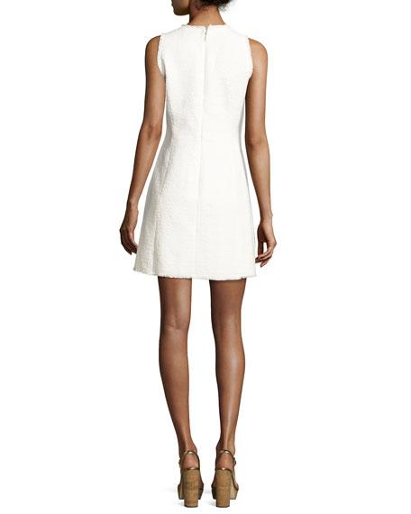 Sleeveless V-Neck Tweed Mini Dress, White