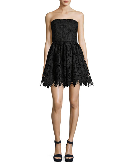 Alice + Olivia Daisy Strapless Lace Party Dress,