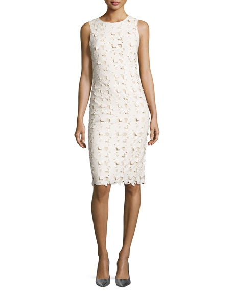 Alice + Olivia Fey Faux-Leather Lace Sheath Dress,