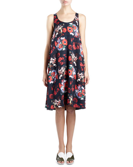 Kenzo Sleeveless Floral Silk Georgette Shift Dress,