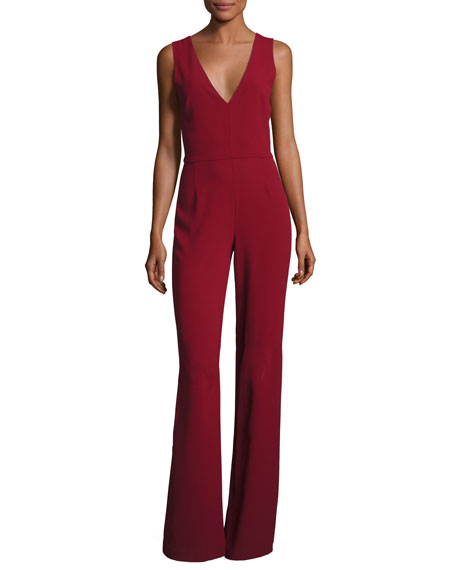 Lina V-Neck Sleeveless Jumpsuit, Wine