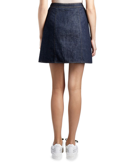 Cotton Denim Zip Mini Skirt, Dark Blue