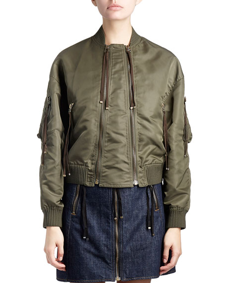 Kenzo Satin Double-Zip Bomber Jacket, Green