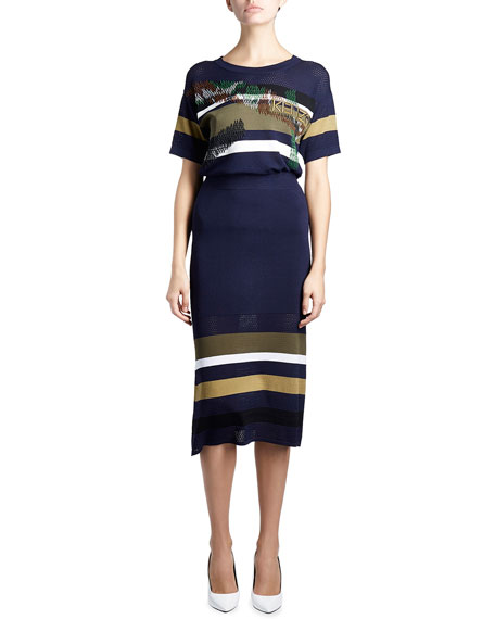 Mesh Striped-Trim Midi Skirt, Dark Blue