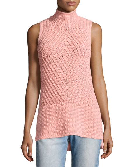Alice + Olivia Abbot Sleeveless High-Low Mock-Neck Sweater,