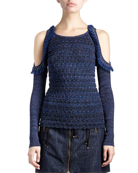 Kenzo Metallic Cold-Shoulder Ruffle-Trim Stretch Top, Dark Blue