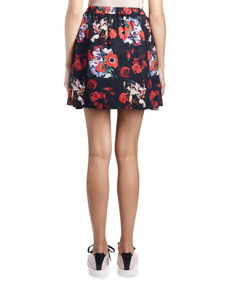 Antonio Smocked Floral Silk Satin Skirt, Red/Multicolor