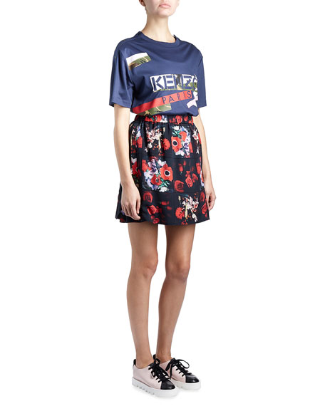 Antonio Smocked Floral Silk Satin Skirt, Red/Multicolor