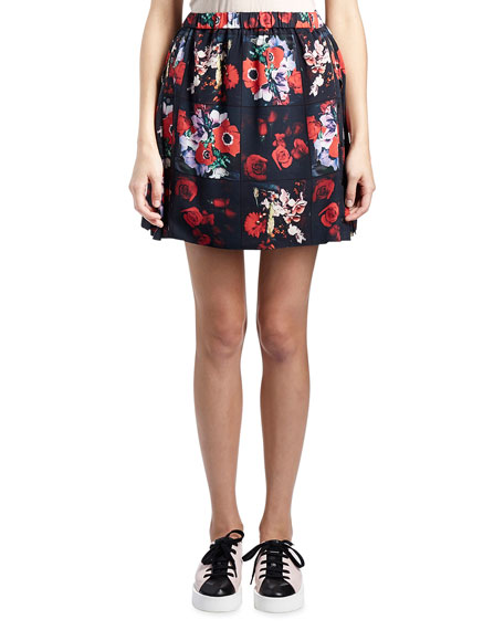 Kenzo Antonio Smocked Floral Silk Satin Skirt, Red/Multicolor