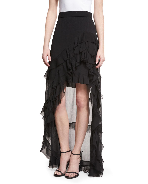 078a4263f9 Alice + Olivia Lavera Layered Ruffle High-Low Maxi Skirt, Black ...