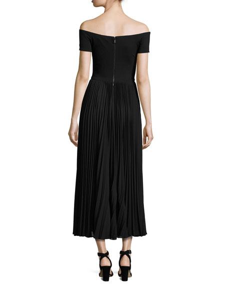 Ilana Off-The-Shoulder Plissé Tea-Length Dress, Black
