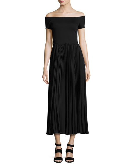 Ilana Off-The-Shoulder Plissé Tea-Length Dress, Black