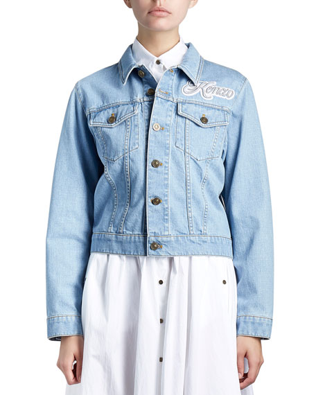 Kenzo Cotton Denim Logo Jacket, Blue