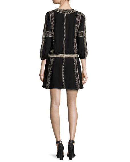 Jolene Embroidered Blouson Dress, Black/Neutral
