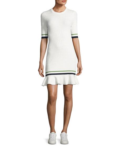 Veronica Beard Ace Short-Sleeve Novel Stitch Dress, White