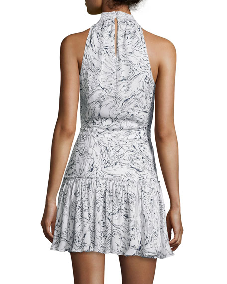 Elizabeth James Wind Carlita Halter Neck Mini Dress Ivory Navy Neiman Marcus