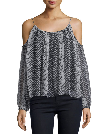 Elizabeth and James Maylin Cold-Shoulder Ikat Blouse, Black/Ivory