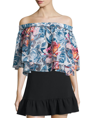 Vanessa Off-The-Shoulder Floral-Print Top, Multi Colors
