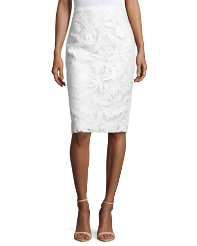 Floral-Burnout Pencil Skirt, White