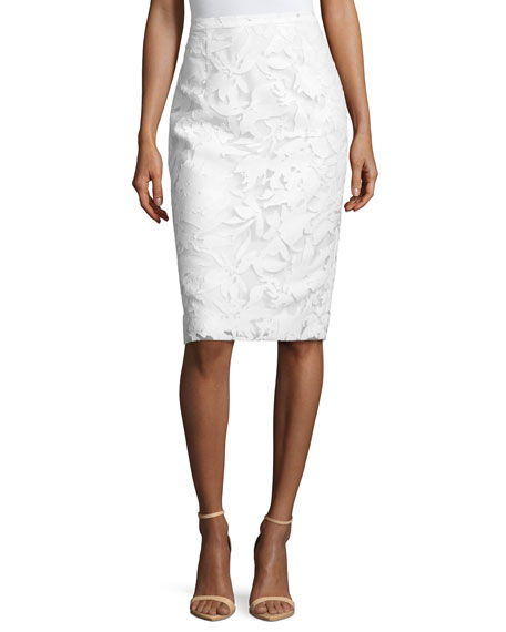 Milly Floral-Burnout Pencil Skirt, White